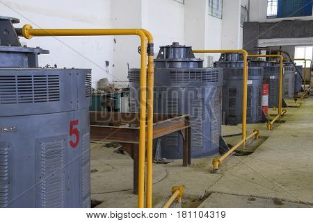 Engines Of Water Pumps At A Water Pumping Station. Pumping Irrig