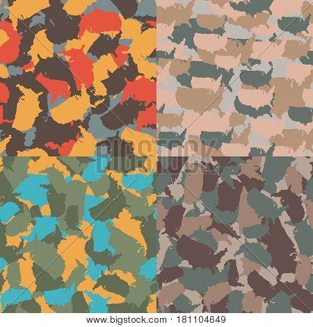 Set of USA shape camo seamless pattern. Colorful America urban camouflage. Vector fabric textile print design.