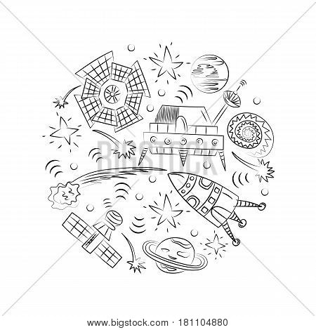 Hand Drawn Doodle Spaceships Rockets Falling Stars Planets and Comets Arranged in a Circle. Sketch Style. Vector Illustration.