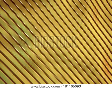 3d illustration of metal gold abstract bionic futuristic structure background