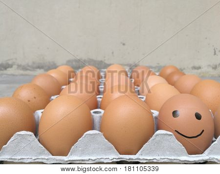 Dozen of chicken egg for cooking breakfast in the egg storage tray with blur background Easter egg for hiding Easter egg happy smiling face at the front of egg row