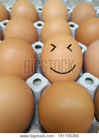 Dozen of chicken egg for cooking breakfast in the egg storage tray with blur background, Easter egg for hiding, Easter egg smiley face