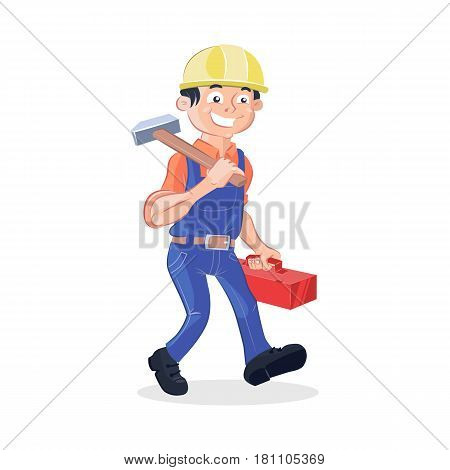 Vector illustration of a worker holding a big hummer and a red box tools