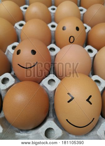 Dozen of chicken egg for cooking breakfast in the egg storage tray with blur background Easter egg for hiding Easter egg surprise happy and smile face closed up