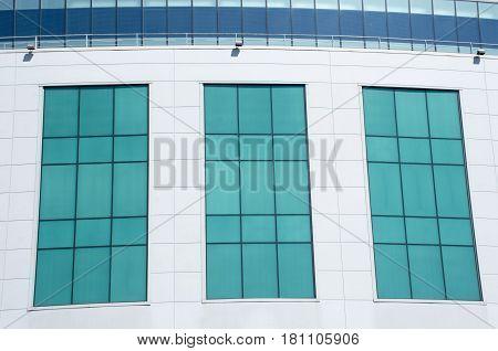 Modern windows in rectangular pattern on side of building