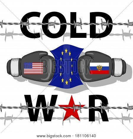 Illustration of the Cold War between the USA and Russia.