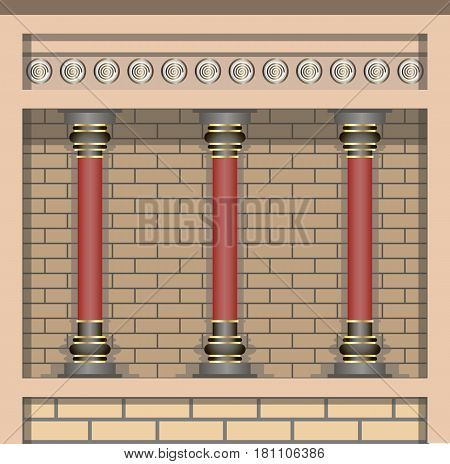 Palace. Architecture elements wall and columns in historic style. Vector illustration