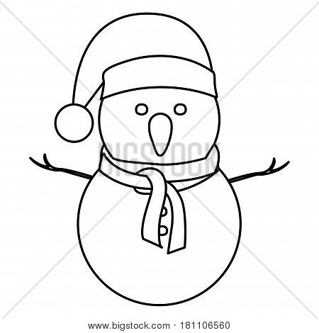 monochrome contour of snowman with christmas hat and scarf vector illustration