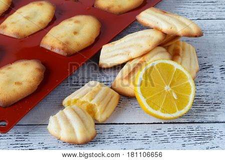 Freshly Baked French Madeleines On A Pan.