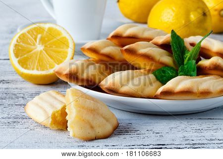 French Madeleine Cookies Powdered Sugar And Strainer On Natural Wooden Light-colored Background.