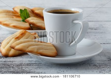 Madeleine French Pastry On Plate On White Background