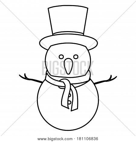 monochrome contour of snowman with top hat and scarf vector illustration