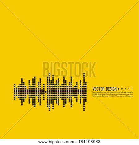 Music sound wave. Vector icon. Audio technology, musical pulse. Waveform line