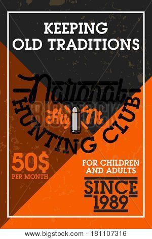 Color vintage hunting club banner. Vector illustration, EPS 10