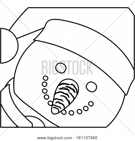 monochrome contour of snowman face with christmas hat and scarf vector illustration