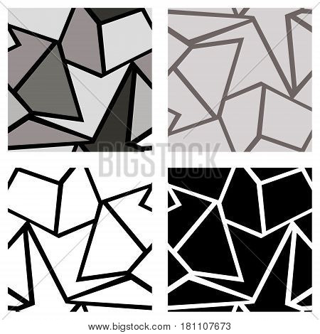 Set Of Seamless Vector Geometric Patterns. Background With Triangles In Black And White Colors. Grap