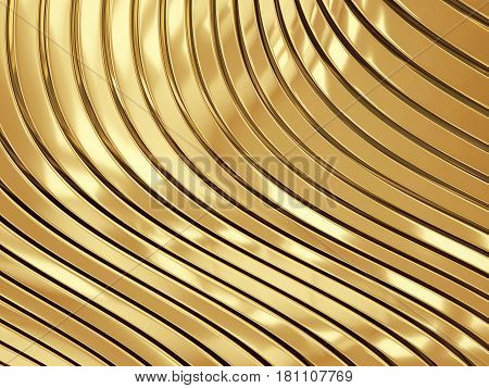 3d illustration of metal gold abstract bionic futuristic wave structure background