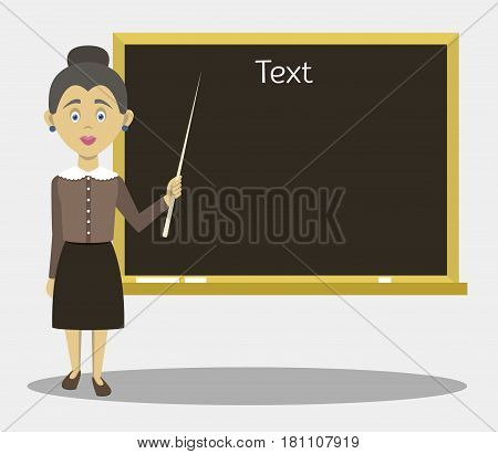 Smiling teacher standing in front of blackboard with pointer. Vector illustration, EPS 10