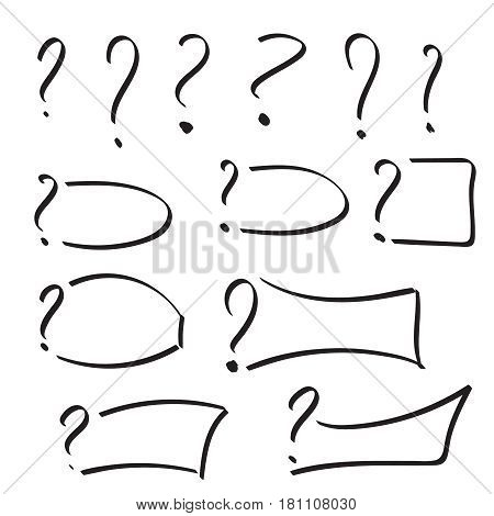 Set of vector question mark with text box hand drawn. Sketch style. Collection of textbox isolated. Help symbol. FAQ sign