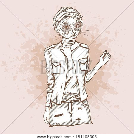 Vector sketch of female model with cats head wearing denim skirt, denim jacket, top, shoes, turban and sunglasses