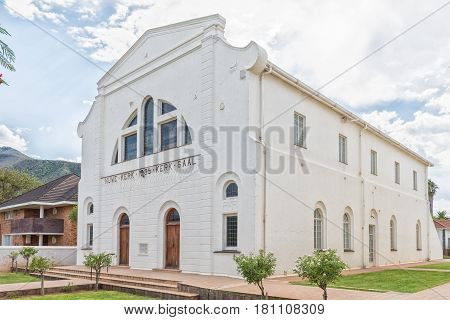 GRAAFF REINET SOUTH AFRICA - MARCH 22 2017: The hall of the Nuwe Kerk (new Dutch Reformed Church) in Graaff Reinet in the Eastern Cape Province