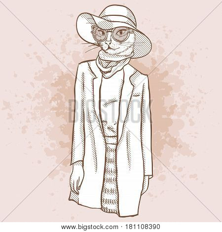 Vector sketch of female model with cats head wearing fringed skirt, top, jacket, scarf, hat, sunglasses and ballet flats