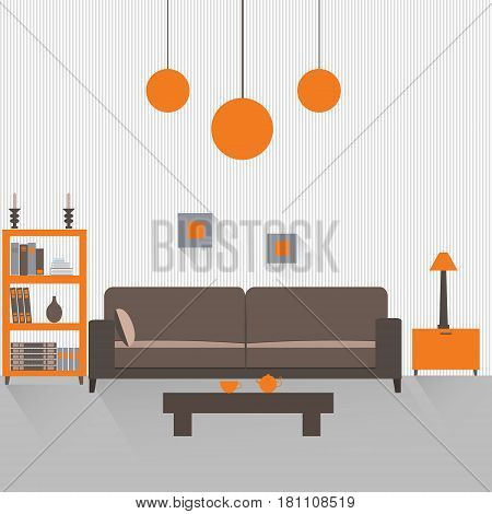 Interior of a living room with long shadows. Flat design illustration. EPS 10 vector file.