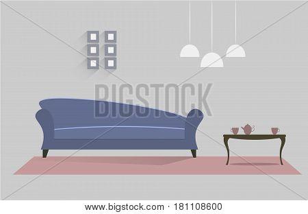 Interior of a living room. Modern flat design illustration. EPS 10 vector file.