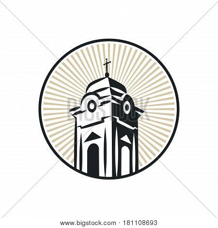 Illustration of a roman catholic church tower that can be used as logo symbol or as isolated design element