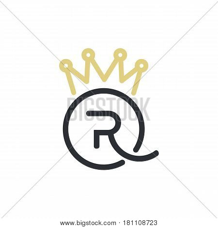 Minimal illustration with letter R blended with Q and crown that can be used for logo or as isolated graphic element