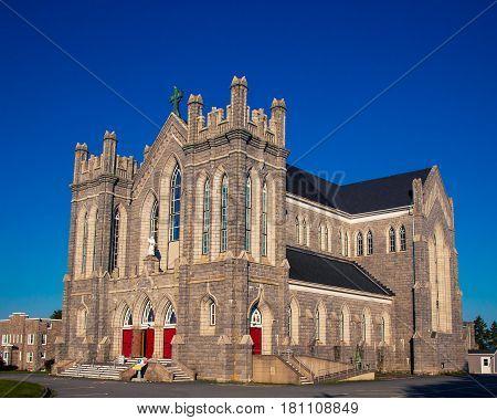 Grey brick gothic Church in Nova Scotia