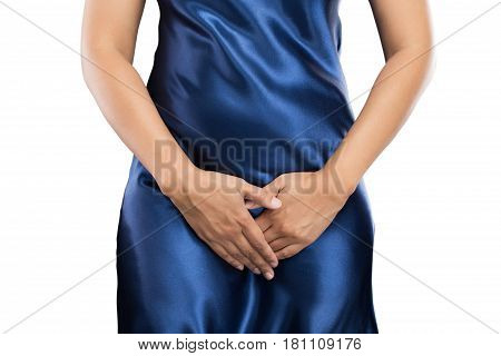 Woman with hands holding pressing her crotch lower abdomen. Medical or gynecological problems healthcare concept