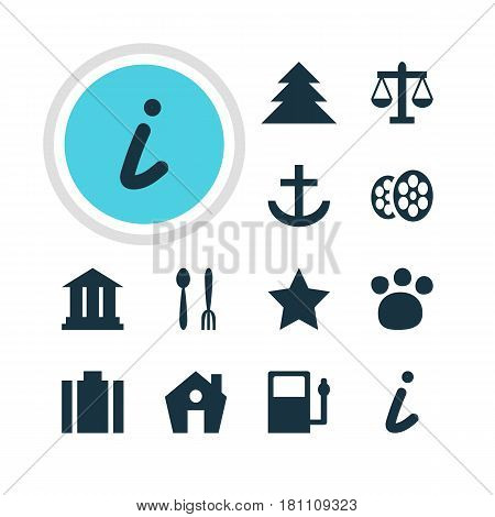 Vector Illustration Of 12 Check-In Icons. Editable Pack Of Bookmark, Film, Briefcase And Other Elements.