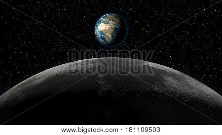 Planet Earth rising over the Moon horizon in full view. Digital 3D illustration. Elements of this illustration are furnished by NASA.