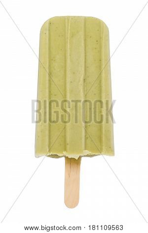 Homemade matcha tea ice cream popsicle against a white background.