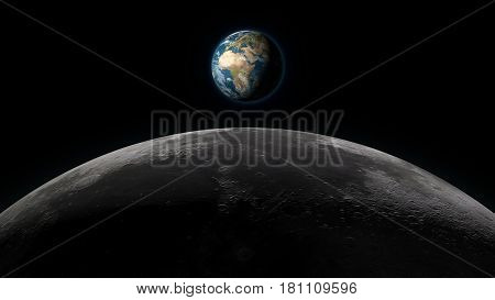 Planet Earth rising over the Moon horizon in full view on a black background. Digital 3D illustration. Elements of this illustration are furnished by NASA.