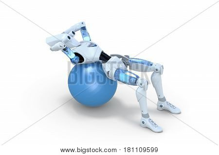 3d render of a robot doing sit ups on an exercise ball against a white background.