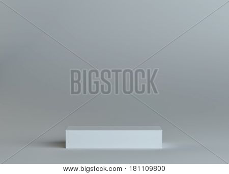 White empty box or podium or pedestal on gray background. Template for your content. 3d illustration