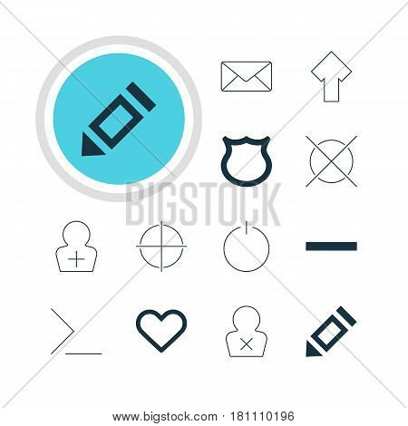 Vector Illustration Of 12 Interface Icons. Editable Pack Of Startup, Emotion, Pen And Other Elements.