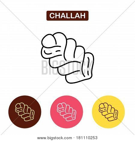 Challah isolated line icon. Bakery products image.  Outline vector Logo illustration.  Trendy Simple vector symbol for web site design or button to mobile app.