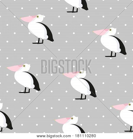 Seamless pattern polka dot with cute pelican. Ornament for textile and wrapping. Vector.
