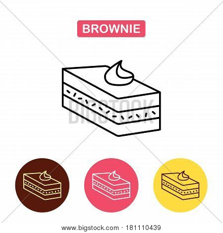 Desserts. Brownie cake icon.  Bakery products image.  Outline vector Logo illustration.  Trendy Simple vector symbol for web site design or mobile app.