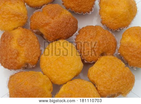 Closeup To Many Pieces Of Mini Madeleine/ French Dessert