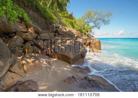 Seychelles seascape granite coast - paradise wild Anse Major beach Mahe Island Indian Ocean East Africa