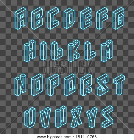 Isometric neon blue font vector on transparent background.