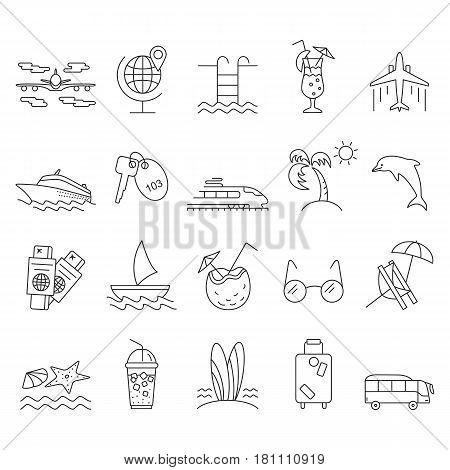 Summer and Beach Icons. Outline vacation web icon set.  Travel  graphic icons set with starfish, sailboat, airplane, cocktail, chaise lounge and other images. Abstract isolated vector illustration.