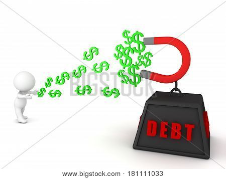 A 3D character losing his money symbolized by dollar signs because of having accumulated debt.