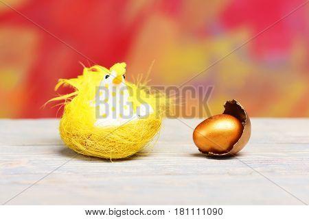 Broken Easter Golden Egg Shell, Yellow Hen, Chicken Bird
