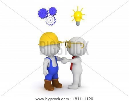 A manual labourer and an architect shaking hands which symbolizes cooperation