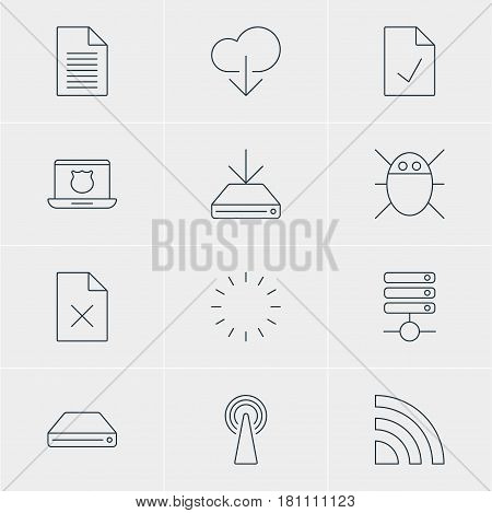Vector Illustration Of 12 Web Icons. Editable Pack Of Hard Drive Disk, Checked Note, Delete Data And Other Elements.